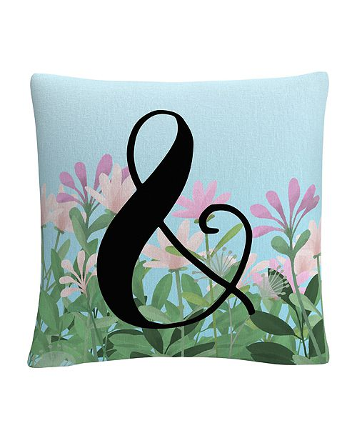 "Baldwin Pink Floral Garden Letter Illustration Ampersand 16x16"" Decorative Throw Pillow by ABC"