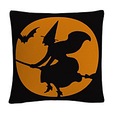 "The Witches Broom Over Orange Moon Halloween 16x16"" Decorative Throw Pillow by ABC"