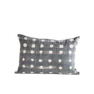 Image of Charcoal Pillow w/Cream Polka Dots