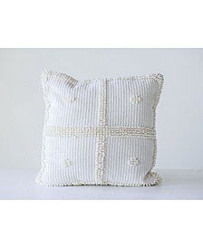 White Square Pillow w/ Textured Accents
