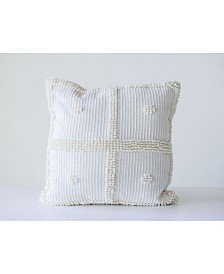 White Square Pillow with Textured Accents