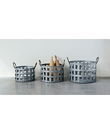 Metal Open Weave Baskets w/ Handles, Set of 3