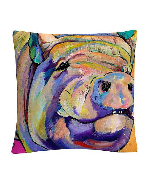 """Baldwin Potbelly Animals Pets Painting Bold 16x16"""" Decorative Throw Pillow by Pat Saunders-White"""