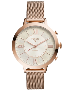 Fossil Q WOMEN'S JACQUELINE ROSE GOLD-TONE STAINLESS STEEL MESH BRACELET HYBRID SMART WATCH 36MM