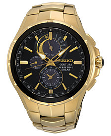 Seiko Men's Solar Chronograph Coutura Gold-Tone Stainless Steel Bracelet Watch 44mm, Created for Macy's
