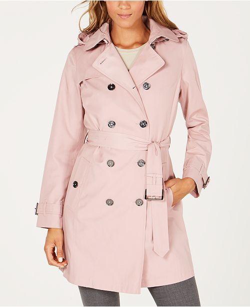 Michael Kors Belted Double-Breasted Hooded Trench Coat