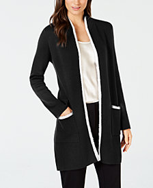 Alfani Eyelash-Trim Long Cardigan, Created for Macy's