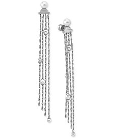 Majorica Stainless Steel Imitation Pearl Chain Fringe Drop Earrings