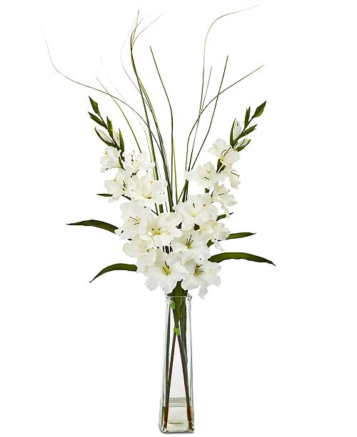 Nearly Natural Gladiola Artificial Arrangement in Glass Vase