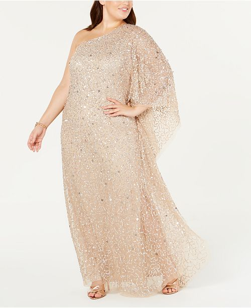 Adrianna Papell Plus Size One-Shoulder Sequin Evening Gown