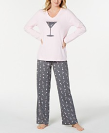 Charter Club Cotton Long Sleeve Button Front Pajama Set ff154f1d1
