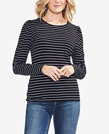 Vince Camuto Puff-Shoulder Striped Top