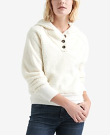 Lucky Brand Button-Neck Fleece Hoodie
