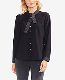 Vince Camuto Striped-Trim Tie-Neck Blouse