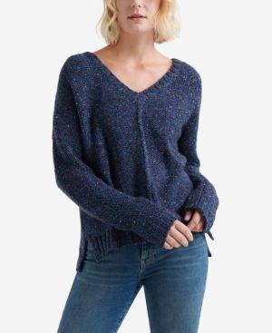 LUCKY BRAND Patterned Chunky-Knit V-Neck Sweater in Blue