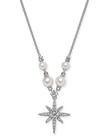 """Danori Silver-Tone Imitation Pearl and Pavé Star Pendant Necklace, 18"""" + 1"""" extender, Created for Macy's"""