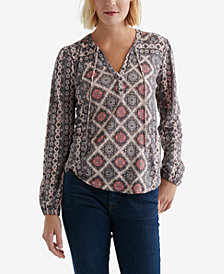Lucky Brand Graphic-Print Peasant Top