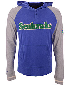 Mitchell & Ness Men's Seattle Seahawks Slugfest Lightweight Hooded Long Sleeve T-Shirt