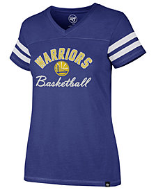 '47 Brand Women's Golden State Warriors Metallic Dinger V-Neck T-Shirt