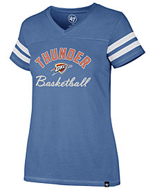 '47 Brand Women's Oklahoma City Thunder Metallic Dinger V-Neck T-Shirt
