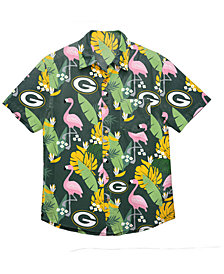 Forever Collectibles Men's Green Bay Packers Floral Camp Shirt