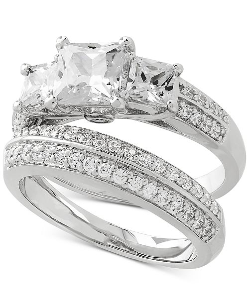 Arabella 2-Pc. Cubic Zirconia Ring Set in Sterling Silver
