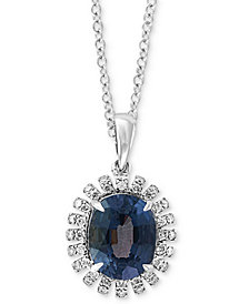 "EFFY® Gray Spinel (3-3/8 ct. t.w.) & Diamond (1/5 ct. t.w.) 18"" Pendant Necklace in 14k White Gold"