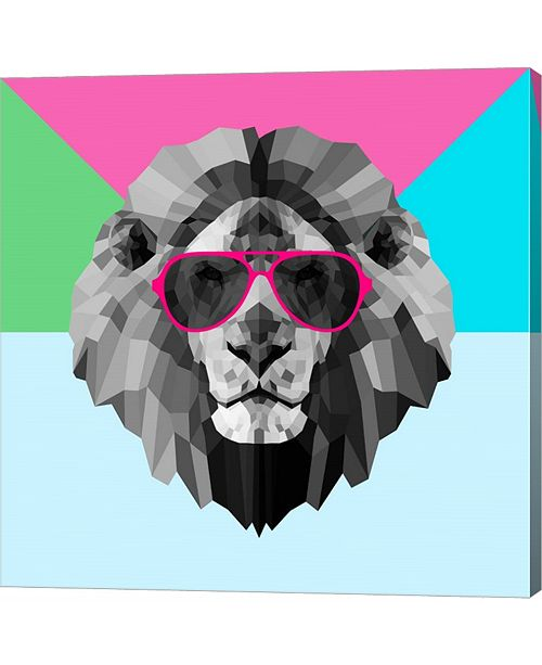 Metaverse Party Lion in Red Glasses by Lisa Kroll Canvas Art