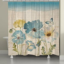 Teal Poppies Shower Curtain