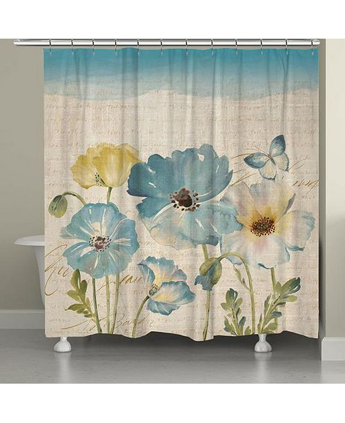 Laural Home Teal Poppies Shower Curtain