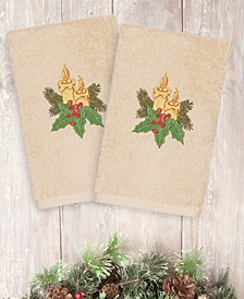 CLOSEOUT!  Christmas Candles 100% Turkish Cotton 2-Pc. Hand Towel Set