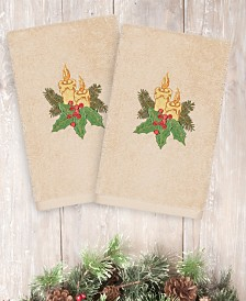 CLOSEOUT! Linum Home Christmas Candles 100% Turkish Cotton 2-Pc. Hand Towel Set