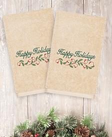 CLOSEOUT!  Christmas Happy Holidays 100% Turkish Cotton 2-Pc. Hand Towel Set