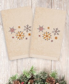 CLOSEOUT!  Christmas Snowfall 100% Turkish Cotton 2-Pc. Hand Towel Set