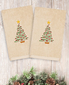 Linum Home Christmas Tree 100% Turkish Cotton 2-Pc. Hand Towel Set