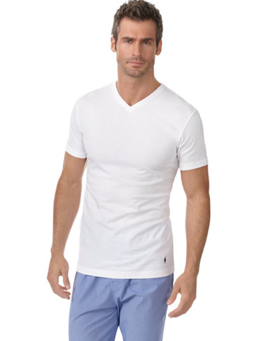 Polo ralph lauren men 39 s slim fit classic cotton v neck for Polo shirt with undershirt