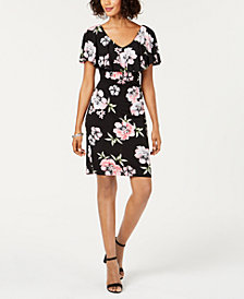 Connected Floral-Print Cape-Sleeve Dress