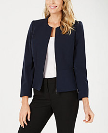 Tahari ASL Collarless Peplum Zip Jacket