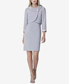 Tahari ASL Petite Pearl-Embellished Envelope-Collar Jacket & Dress Suit