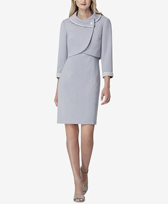 Tahari Asl Envelope Collar Dress Suit Wear To Work Women Macy S