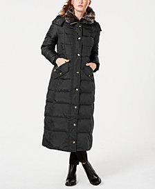 London Fog Petite Faux-Fur-Trim Hooded Maxi Down Coat