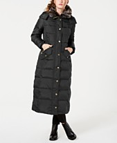 5a98ca13dac London Fog Petite Faux-Fur-Trim Hooded Maxi Down Coat