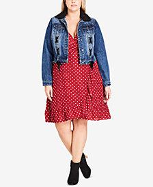 City Chic Trendy Plus Size Removable Faux Fur Denim Jacket