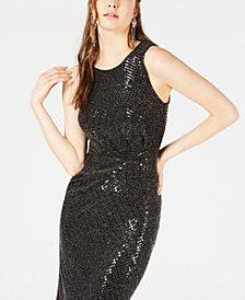 Bar III Ruched Metallic Shine Bodycon Dress, Created for Macy's