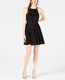 Bar III Lace Fit & Flare Dress, Created for Macy's