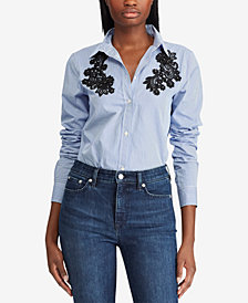 Lauren Ralph Lauren Lace-Patch Cotton Shirt