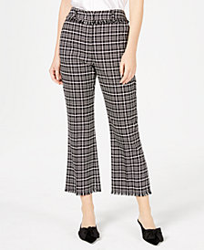 Weekend Max Mara Cotton Valico Frayed-Edge Plaid Pants
