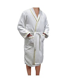 European Spa and Bath White Waffle Weave Terry Cloth Robe with Gold Embroidered Trim