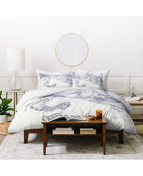 Deny Designs Holli Zollinger French Linen Marble Queen Duvet Set