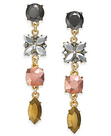 I.N.C. Gold-Tone Multi-Crystal Linear Drop Earrings, Created for Macy's